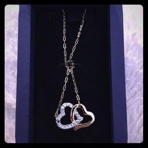 NEW Swarovski Gold Heart Necklace w Crystals